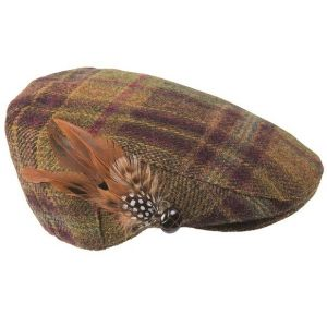 Barbour Tweed Flat Cap Wine/Olive Check