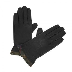 Barbour Tartan Trimmed Leather Gloves Black