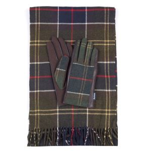 Barbour Tartan Scarf and Leather Mix Gloves Set