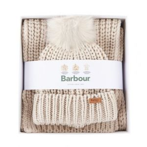 Barbour Saltburn Beanie and Scarf Set Pearl