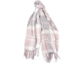Barbour Boucle Scarf Soft Pink /Grey