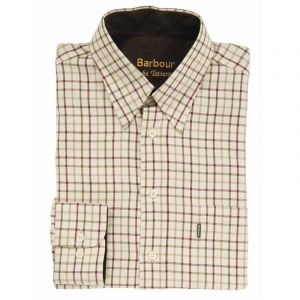 Barbour Mens Sporting Tattersall Shirt - Classic Collar(Red/Khaki)